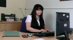 Businesswoman makes mistake on computer - stock footage
