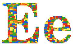 letter e built from toy bricks in random colors - stock photo