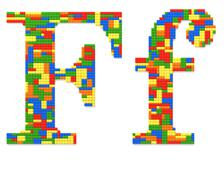 letter f built from toy bricks in random colors - stock photo