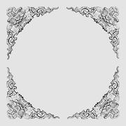 floral pattern frame-gray - stock photo