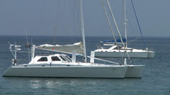 White yachts /sailboats ancored in gulf of Giardini-Naxos. Stock Footage