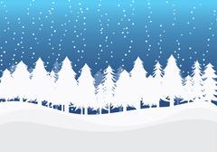 Christmas Winter Landscape - stock illustration