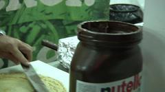 """Nutella"" sign, crepes, street food. Stock Footage"