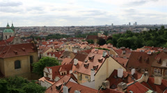 Panorama of historical center of prague (view from the tower of saint vitus c Stock Footage