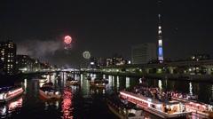 Sumidagawa River Fireworks, Tokyo, Japan Stock Footage