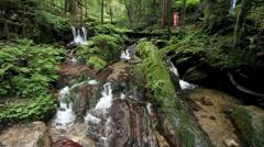 Uriwarinotaki Waterfall, Wakasa Town, Fukui, Japan Stock Footage