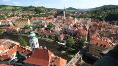 Historical center of cesky krumlov. timelapse view Stock Footage