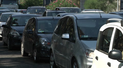 Bumper to bumper traffic, lanes of heavy, rush hour traffic. - stock footage