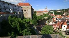 Panorama of historical center of cesky krumlov Stock Footage