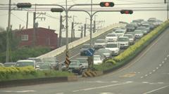 Long Traffic Jam Evacuation Of Coast Ahead Of Hurricane Stock Footage