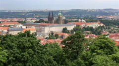 Saint vitus cathedral in prague castle (view from the petrin lookout tower) Stock Footage