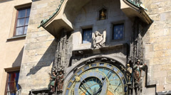 Prague astronomical clock (prague orloj) in the old town square. Stock Footage