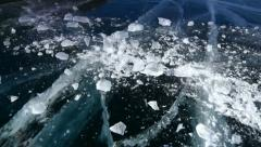 Ice block crash slow mo and revers - stock footage