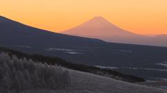 Morning View of Mt. Fuji, Kirigamine, Suwa, Nagano, Japan Stock Footage