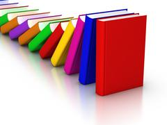 colorful books domino effect - stock illustration