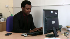 Male in fully focused in his work Stock Footage