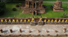 Top view of buddha statue at old temple wat yai chai mongkhon of ayuthaya,tha Stock Photos