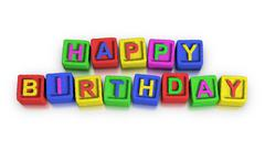 play blocks : happy birthday - stock illustration