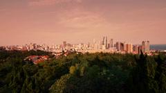 Sunset glow of china urban skyline & sea,QingDao(tsingtao). Stock Footage