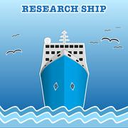 Research or fisherman nautical vessel. Stock Illustration