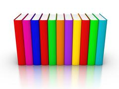 row of colourful books - stock illustration
