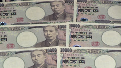 Japanese Yen bills Stock Footage
