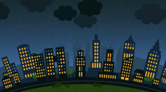 Loopable animation of a city with skycrapers at stormy night. Lightning strikes Stock Footage