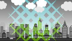 Transformation of the polluted town to a green, eco-friendly city with trees. Stock Footage