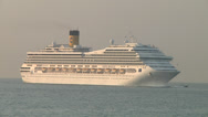 Stock Video Footage of Arrival of the cruise ship Costa Magica in port of Catania.