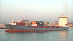 Cargo ship, real time, port of Catania, Sicily, Italy. Stock Footage