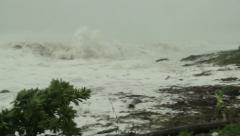 Large Hurricane Storm Waves Crash Onto Beach - stock footage