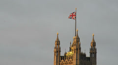Airplane flying over the Palace Of Westminster, London Stock Footage