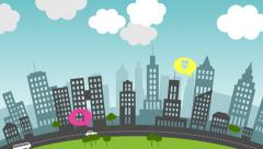 Social media in the city. Communication navigation and networking. Stock Footage