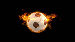 Burning rotating soccer ball, beautiful tongues of fire and flame Stock Footage