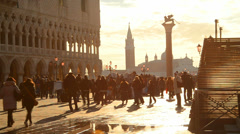 People walking in St.Marco square, Venice Stock Footage