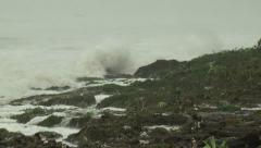 Dangerous Storm Waves Crash Onto Beach As Hurricane Nears - stock footage