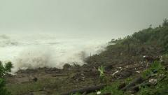Large Waves Crash Ashore As Hurricane Nears Stock Footage