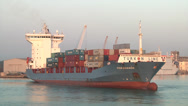 Stock Video Footage of Cargo ship, containers,