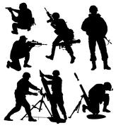 Armed soldier silhouette - stock illustration