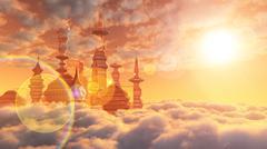 Ilmakuva Sci Fi City pilvet ja aurinko Piirros