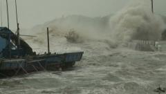 Hurricane Storm Surge Waves Crash Into Harbor Stock Footage