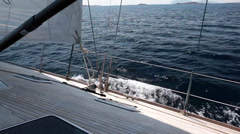 Yacht sail from the deck - stock footage