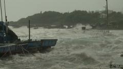 Hurricane Storm Surge Floods Small Harbor Stock Footage