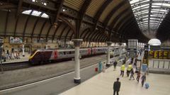 Cross Country train arrives at York railway station Stock Footage