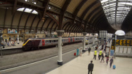 Stock Video Footage of Cross Country train arrives at York railway station