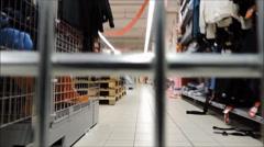 Shopping cart. Shopping trolley, supermarket timelapse, POV, - stock footage