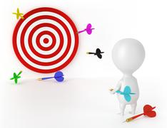 Target, Darts and Character - Loser Stock Illustration