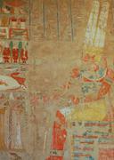 egyptian amun god relief - stock photo