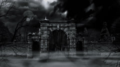 Scary cemetery gate (loop). Stock Footage