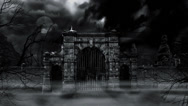 Stock Video Footage of Scary cemetery gate (loop).